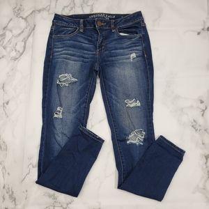AEO Super Stretch Distressed Jegging Skinny Jeans